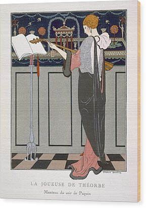 The Theorbo Player Wood Print by Georges Barbier