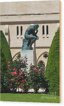 The Thinker By Auguste Rodin Wood Print by Louise Heusinkveld