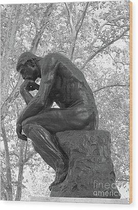 The Thinker - Philadelphia Bw Wood Print