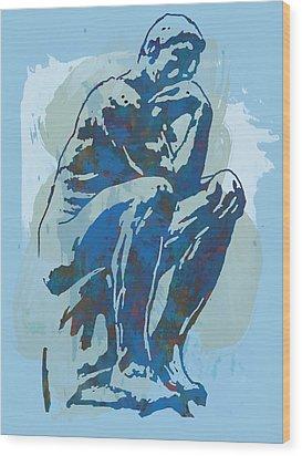 The Thinker - Rodin Stylized Pop Art Poster Wood Print by Kim Wang