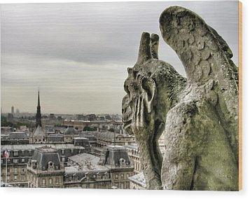 The Thinking Gargoyle Wood Print