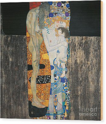 The Three Ages Of Woman Wood Print by Gustav Klimt