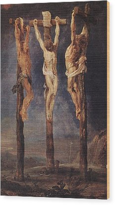 The Three Crosses Wood Print by Peter Paul Rubens