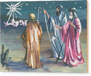 The Three Kings Wood Print by Elisabeta Hermann