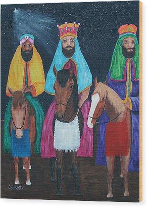 The Three Kings Wood Print by Gloria E Barreto-Rodriguez