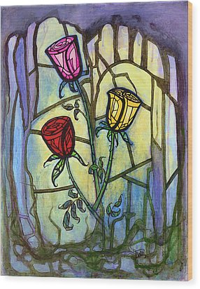 The Three Roses Wood Print by Terry Webb Harshman