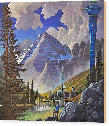 Wood Print featuring the painting The Three Towers by Art James West