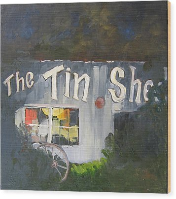 The Tin Shed Wood Print by Susan Richardson