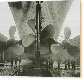 The Titanics Propellers In The Thompson Graving Dock Of Harland And Wolff Wood Print by English Photographer