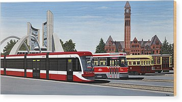 Wood Print featuring the painting The Toronto Streetcar 100 Years by Kenneth M  Kirsch