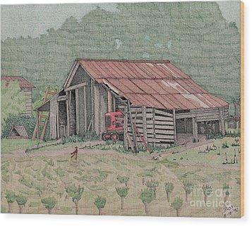 The Tractor Barn Wood Print by Calvert Koerber