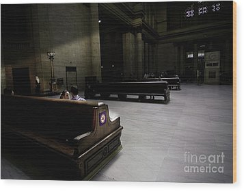 The Train Station Lobby Art Deco Style Wood Print