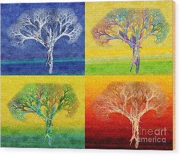 The Tree 4 Seasons - Painterly - Abstract - Fractal Art Wood Print by Andee Design