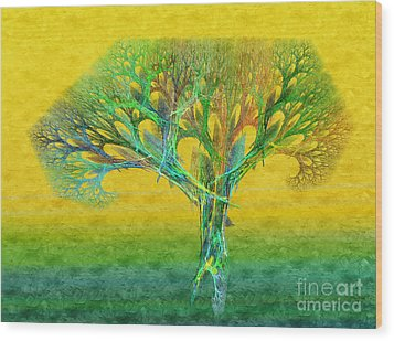 The Tree In Summer At Sunrise - Painterly - Abstract - Fractal Art Wood Print by Andee Design