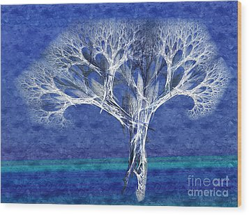 The Tree In Winter At Dusk - Painterly - Abstract - Fractal Art Wood Print by Andee Design