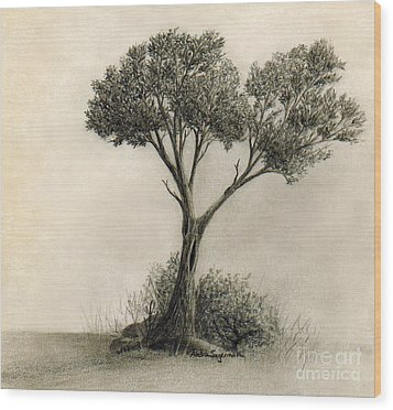 The Tree Quietly Stood Alone Wood Print by Audra D Lemke
