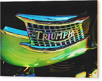 The Triumph Petrol Tank Wood Print by Steve Taylor