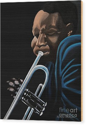 Wood Print featuring the painting The Trumpeter by Barbara McMahon