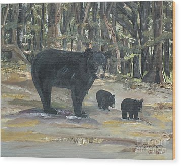 Wood Print featuring the painting Cubs - Bears - Goldilocks And The Three Bears by Jan Dappen