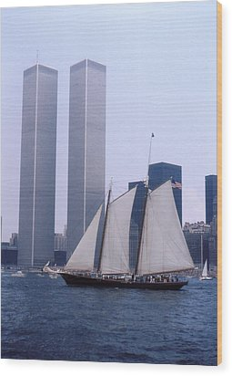 The Twin Towers With The Schooner America 4th July 1976 Wood Print by Terence Fellows