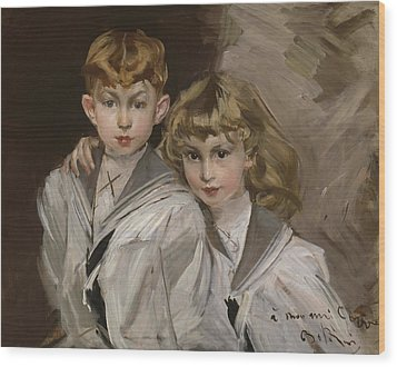 The Two Children Wood Print by Giovanni Boldini