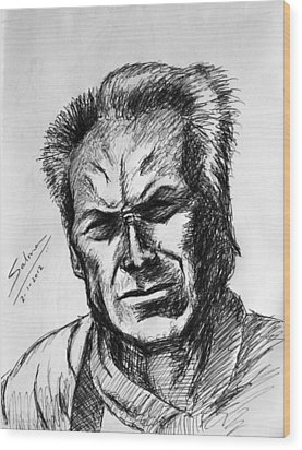 Wood Print featuring the painting Clint Eastwood by Salman Ravish