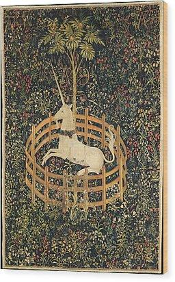 The Unicorn In Captivity Wood Print
