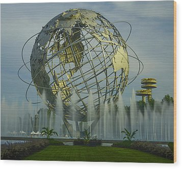 The Unisphere Wood Print by Theodore Jones