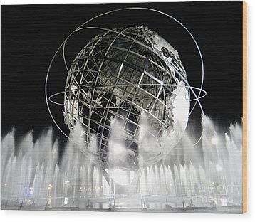 The Unisphere's 50th Anniversary Wood Print by Ed Weidman