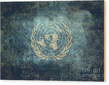 The United Nations Flag  Vintage Version Wood Print