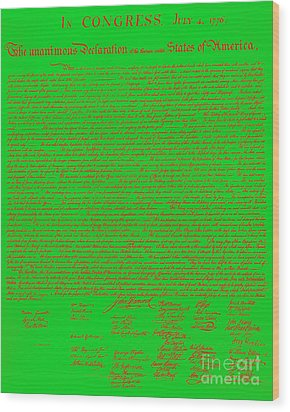 The United States Declaration Of Independence 20130215 Wood Print by Wingsdomain Art and Photography