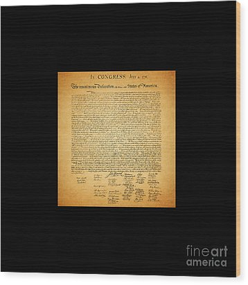 The United States Declaration Of Independence - Square Black Border Wood Print by Wingsdomain Art and Photography
