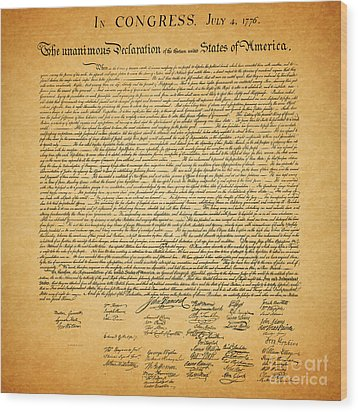 The United States Declaration Of Independence - Square Wood Print by Wingsdomain Art and Photography