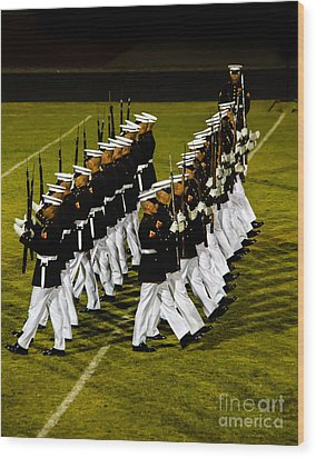 The United States Marine Corps Silent Drill Platoon Wood Print by Robert Bales