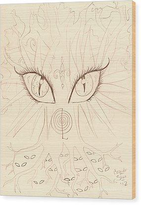 The Universal Tree Sketch Wood Print by Coriander  Shea