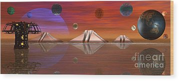 Wood Print featuring the digital art The Unknown by Jacqueline Lloyd