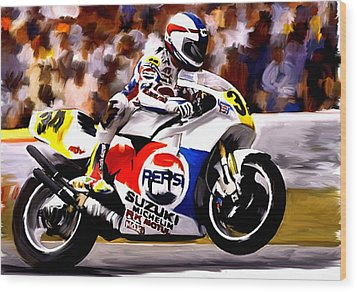 The Unleashing   Kevin Schwantz Wood Print by Iconic Images Art Gallery David Pucciarelli