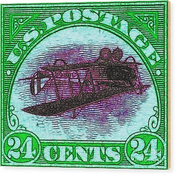 The Upside Down Biplane Stamp - 20130119 - V4 Wood Print by Wingsdomain Art and Photography