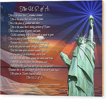 The Usa Statue Of Liberty Poetry Art Poster Wood Print by Stanley Mathis