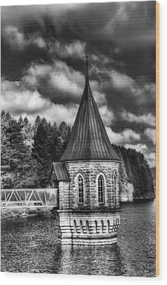 The Valve Tower Mono Wood Print by Steve Purnell