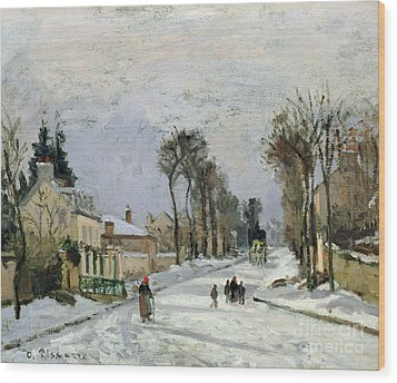 The Versailles Road At Louveciennes Wood Print by Camille Pissarro