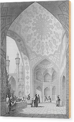 The Vestibule Of The Main Entrance Of The Medrese I Shah-hussein Wood Print by Pascal Xavier Coste