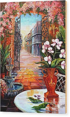 The View From A Courtyard Wood Print by Diane Millsap