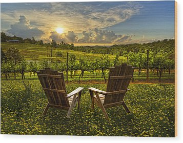 The Vineyard   Wood Print by Debra and Dave Vanderlaan