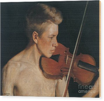 The Violinist Wood Print by Celestial Images