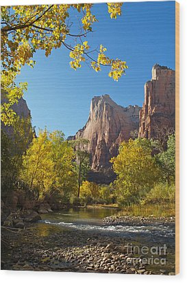 The Virgin River And The Court Of The Patriarchs Wood Print by Alex Cassels