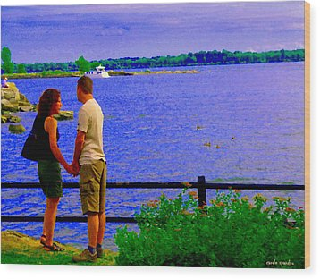 The Vow Lovers Forever By The Lake Summer Romance St Lawrence Shoreline Scenes Carole Spandau Art Wood Print by Carole Spandau