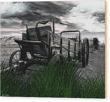 Wood Print featuring the mixed media The Wagon by Tyler Robbins