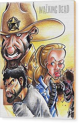 The Walking Dead Wood Print by Big Mike Roate