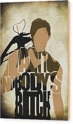 The Walking Dead Inspired Daryl Dixon Typographic Artwork Wood Print by Ayse Deniz
